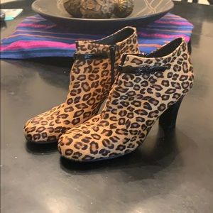 Animal fabric print booties